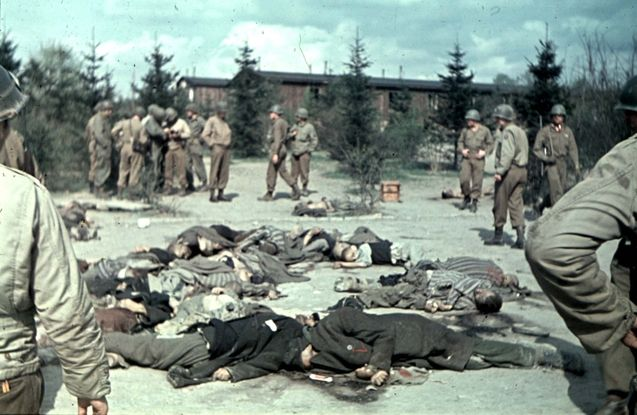 4th armored and 89th infantry divisions liberate Ohrdruf, the first discovered concentration camp on the Western Front. Upon entering, American G.I's immediately find 70 dead bodied scattered in the courtyard on April 4, 1945 (yadvashem.org)
