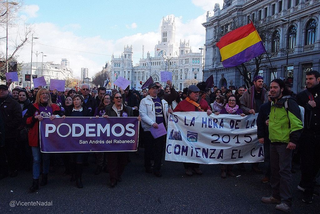 Members of the newly created 'Podemos' march in Madrid on January 31, 2015 as Spain's unemployment crisis ensues (Vicente José Nadal Asensio/Creative Commons/Flickr)