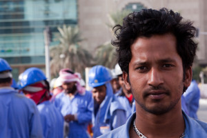 Migrant worker in Qatar. Source: Richard Messenger, CreativeCommons