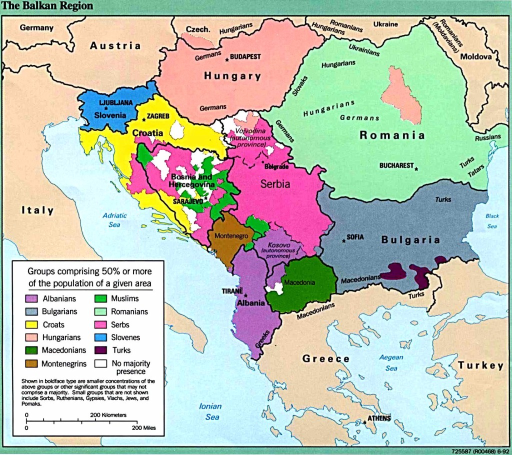 Ethnic composition of the Balkan region. University of Texas at Austin, Perry-Castañeda Library Map Collection