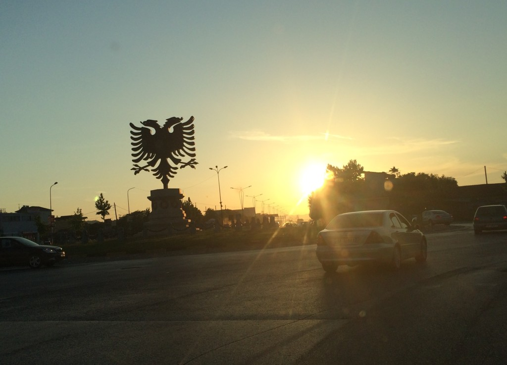 The Albanian double-headed eagle in the evening sunlight. Source: Tina Kempin Reuter