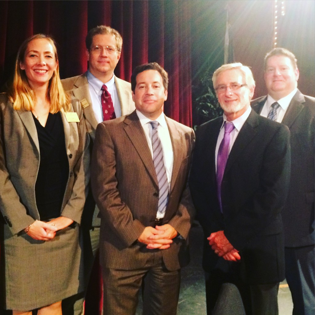 The panelists and organizers (l tor): Dr. Tina Kempin Reuter, Reiff Center; Dr. Nathan Busch, Center for American Studies; Jon Wolfsthal, National Security Council; Steve Wendell, United Jewish Community; Matthew Brodsky, Wikistrat