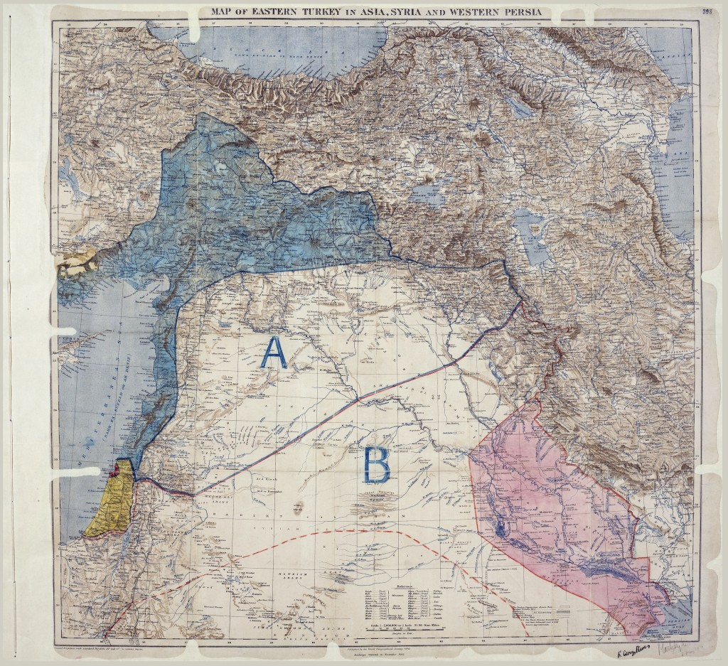 The Sykes-Picot Agreement, 1916. Source: Royal Geographic Society