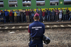 """Syrian refugees strike at the platform of Budapest Keleti railway station."" Source: Mstyslav Chernov, Creative Commons"