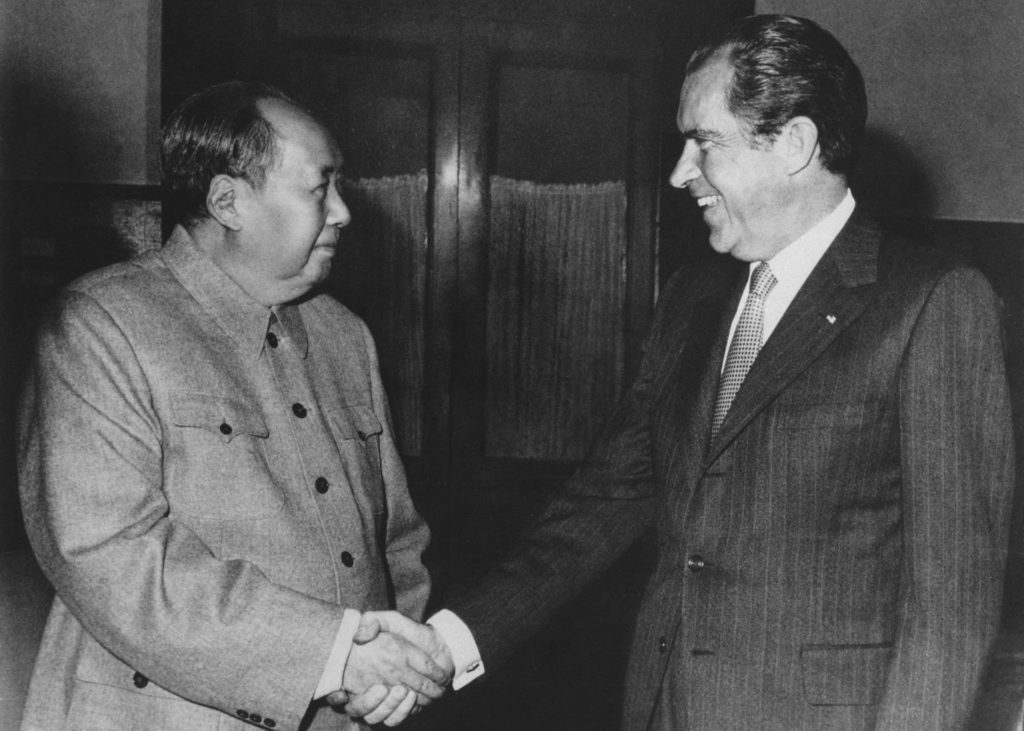 Richard Nixon shakes hands with Chairman Mao on his historic visit to China (National Archives)