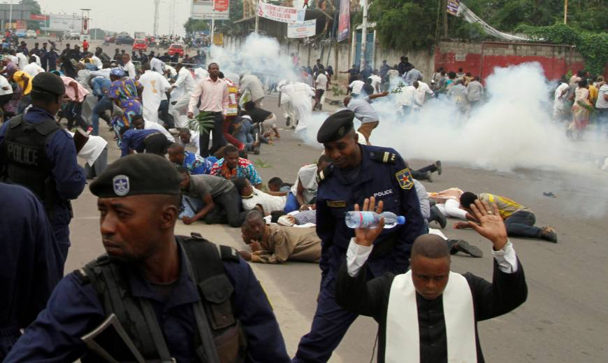 During the protests in Kinshasa on Jan. 21, police fired tear gas and live ammunition into a protest organized by the Catholic church. (Reuters/Kenny Katombe)